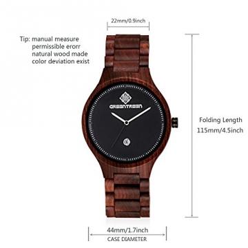 GREENTREEN Unisex Holz Armbanduhr mit Kalender Funktion details