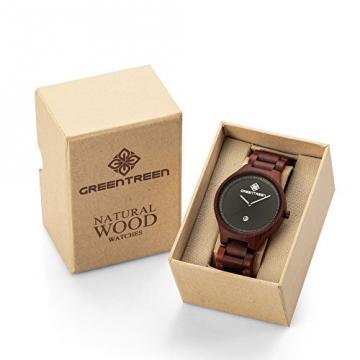 GREENTREEN Unisex Holz Armbanduhr mit Kalender Funktion verpackung