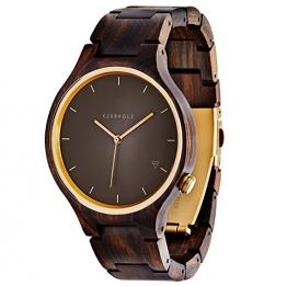 kerbholz herren armbanduhr lamprecht analog quarz holz gold