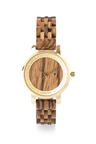 laimer damen armbanduhr jenni aus zebranoholz vorne