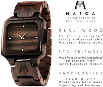 MATOA Rote Holz Armbanduhr aus Ebenholz