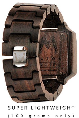 MATOA Rote Holz Armbanduhr aus Ebenholz hinten