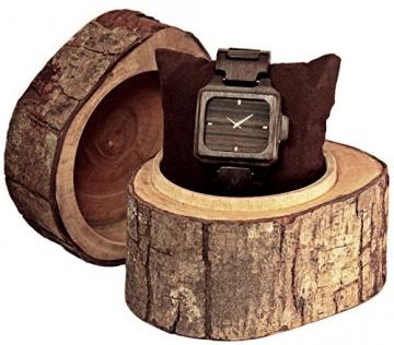 MATOA Rote Holz Armbanduhr aus Ebenholz verpackung